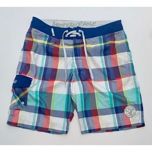 AEO Plaid Board Shorts Large